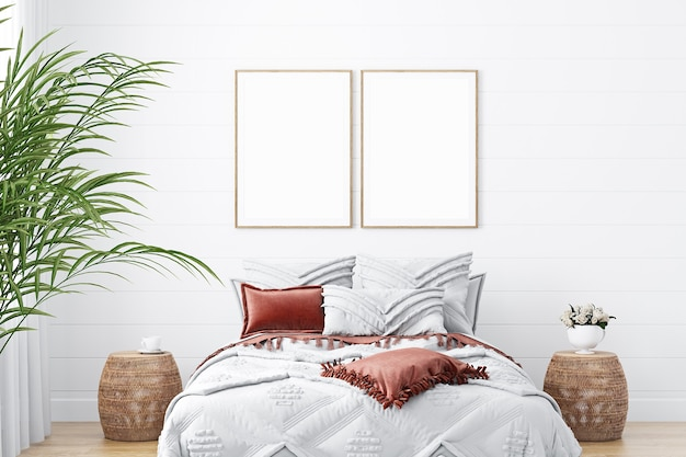Fotolijsten mockup in slaapkamer