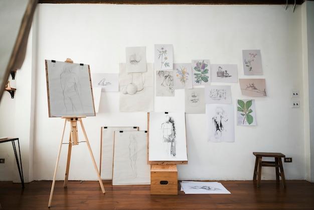 Fotolijsten op een kunsttentoonstelling