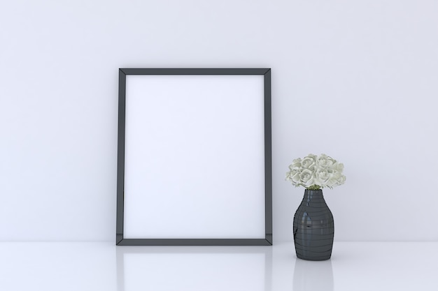 Fotolijstmodel met bloemenvaas