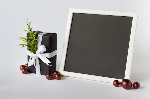 Fotolijstsjabloon met kerst decoratieve elementen