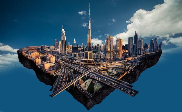Fotomanipulatie van de skyline van dubai