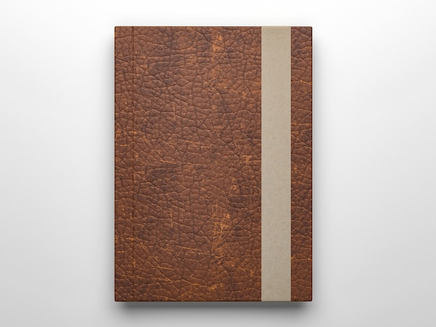 Fotorealistische lederen dagboek notebook mockup geïsoleerd op lichtgrijs oppervlak, 3d render