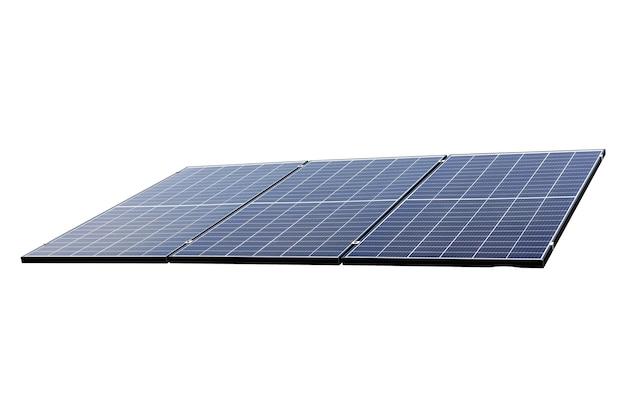 Fotovoltaïsch zonne-energiepaneel dat op witte achtergrond wordt geïsoleerd