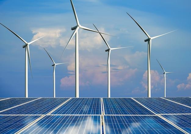 Fotovoltaïsche cel van het zonne-energiepaneel en de stroomgenerator van het windturbinelandschap in aardlandschap.