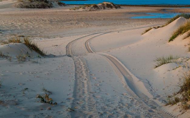 Four wheel drive-autobanddruk op zandduin in het strand van trafalgar, cadiz, spanje.
