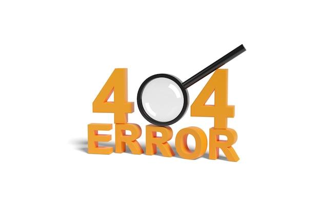 Fout 404 vaste tekst en vergrootglas geïsoleerd op wit oppervlak. 3d-afbeelding.
