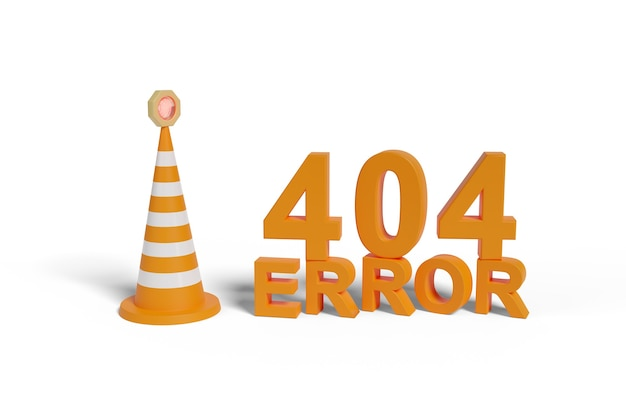 Fout 404 vaste tekst naast een veiligheidskegel geïsoleerd op een wit oppervlak. 3d-afbeelding.