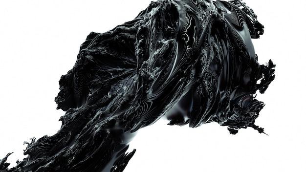 Fractal abstractie 3d teruggevende illustratie. zwart ornament rubber materiaal. creatieve gedetailleerde vorm voor decoratie.