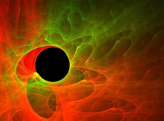Fractal gekleurde abstracte ronde krommen en lijnen op zwarte achtergrond