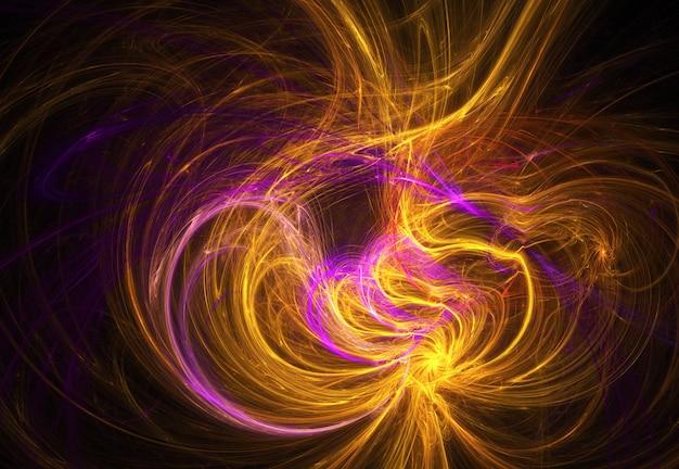 Fractal gele en roze abstracte krommen en lijnen op zwarte achtergrond