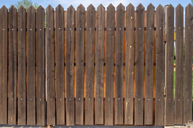 Fragment van een houten plankomheining met metalen klinknagels. veiligheidsconcept. achtergrond met kopie ruimte.