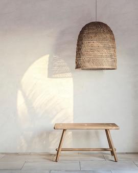 Fragment van een interieur met een rieten lampenkap en een houten bankje met invallend licht. 3d-weergave