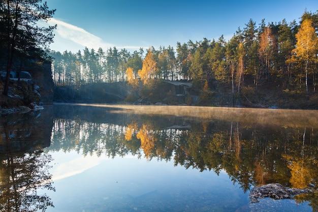 Fragment van het meer in de herfstbos in de vroege ochtend