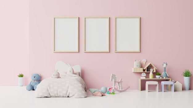 Frame blankin kinderkamer interieur op roze.