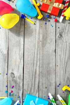 Frame decoratie partij bovenaanzicht patroon verjaardag partij plat lag