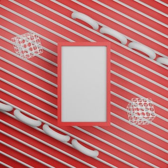 Frame fotolijst 3d-rendering geometrisch concept Premium Foto