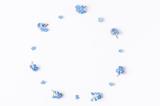 Frame gemaakt van de lente vergeet me niet bloemen geïsoleerd op wit