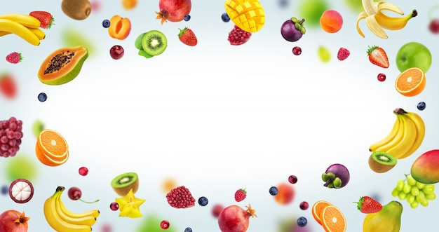 Frame gemaakt van fruit en bessen