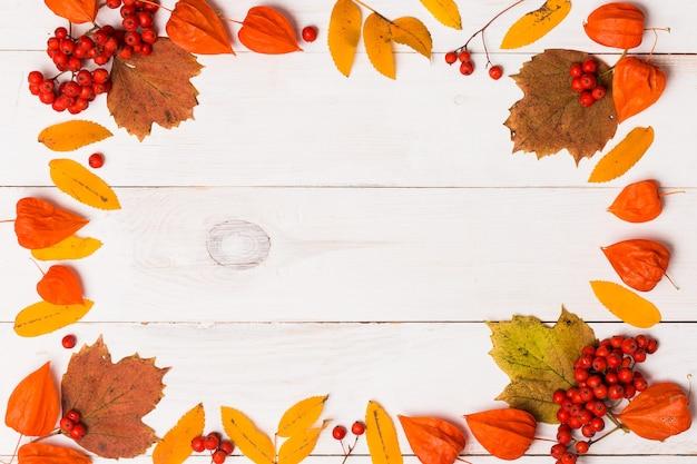 Frame gemaakt van herfst gedroogde bladeren rowan en physalis bessen op witte houten achtergrond met kopie ruimte. plat leggen