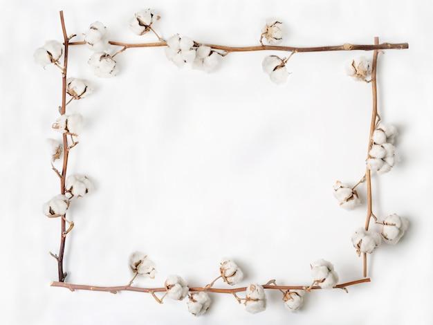 Frame gemaakt van katoenen bloemen op witte achtergrond. plat leggen
