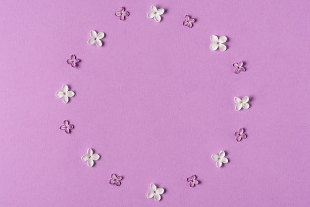 Frame gemaakt van lila lentebloemen op paars