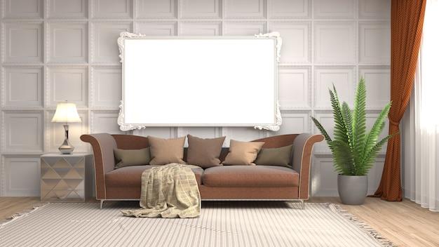 Frame in interieur achtergrond weer gegeven afbeelding