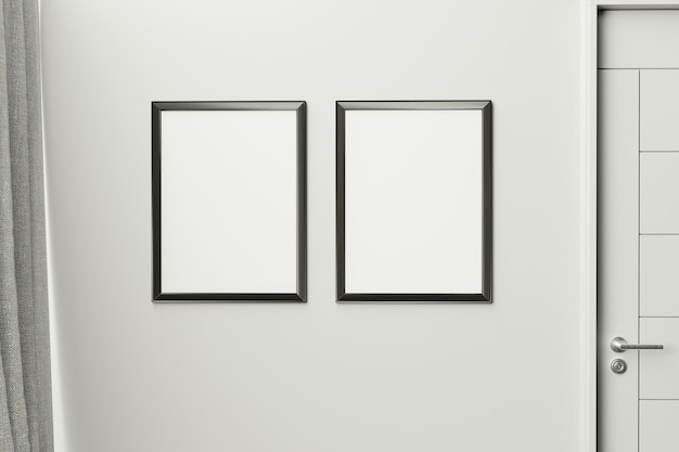 Frame in moderne binnenmuur., close-up, woonkamer, scandinavische stijl