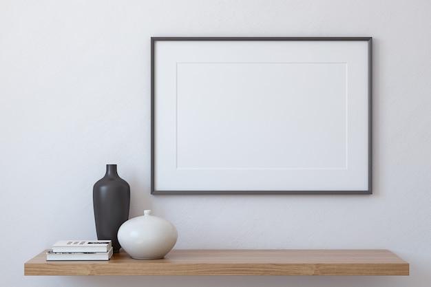 Frame landschap mockup. interieur met groot horizontaal frame. 3d render.