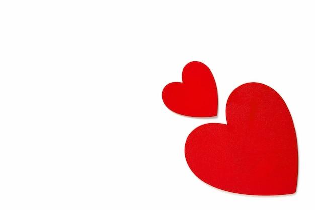 Frame liefdesymbool decoraties op valentijnsdag, rood geschilderde harten bovenaanzicht