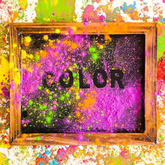 Frame met kleur opschrift op felle droge kleuren