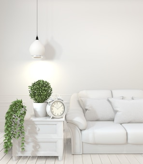 Frame met lege houten sofa, plant en lamp in lege ruimte met witte muur.