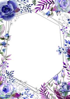 Frame met rozen, bladeren, bessen, decoratieve twijgen. huwelijksconcept met bloemen. aquarel compositie in blauwe tinten voor wenskaarten of uitnodigingen.