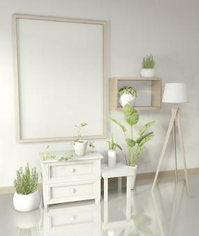 Frame met witte kast en decoratie planten op glanzende vloer, 3d-rendering