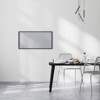 Frame mock up in moderne eetkamer interieur met zwarte tafel en stoelen en witte muur met zonnestralen, betonnen vloer, minimalistische stijl, scandinavische, 3d-rendering