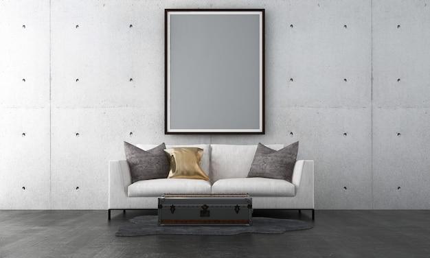 Frame mock-up in zwart modern woonkamerontwerp, houten kozijnen op betonnen muur