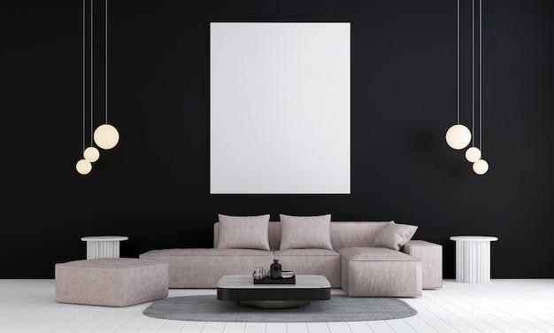Frame mock-up in zwart modern woonkamerontwerp