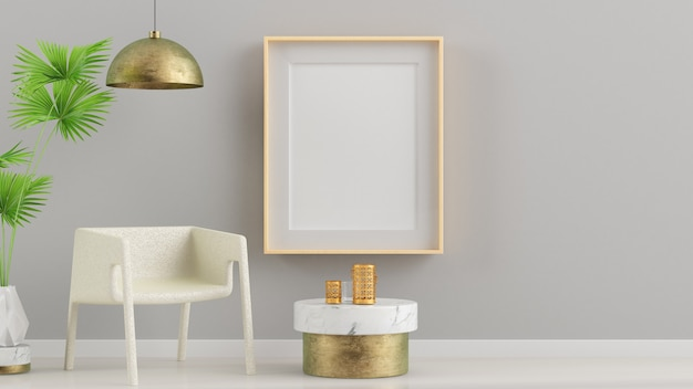 Frame mock up op binnenmuur 3d-rendering