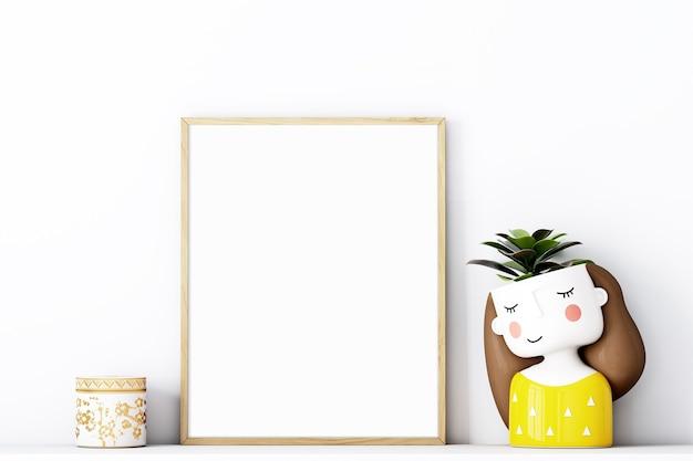 Frame mockup 8x10 met gouden frame en met een schattig geel potje meisje