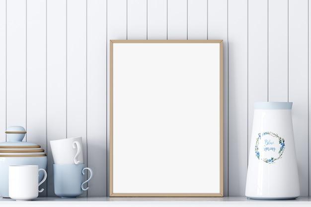 Frame mockup a4 keuken op witte achtergrond
