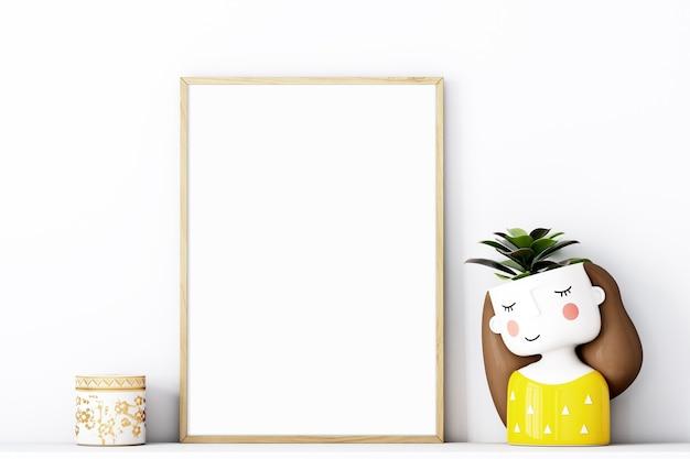 Frame mockup a4 met gouden frame en met een schattig geel potje meisje