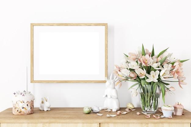 Frame mockup horizontaal houten en paasdecor