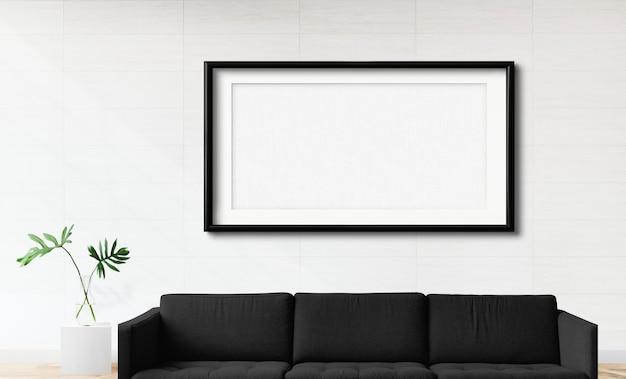 Frame mockup in een woonkamer