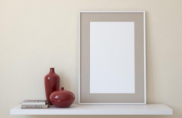 Frame mockup. interieur met groot frame. 3d render.