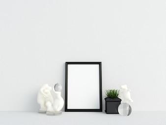 Frame Mockup Interieur Witte muur met decoratie