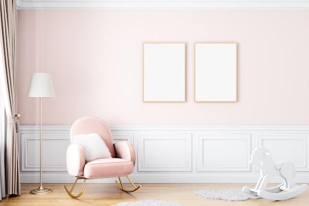 Frame mockup roze meisje