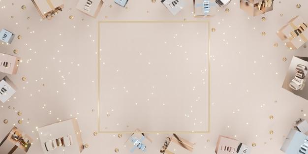 Frame nieuwjaar en kerst achtergrond geschenkdoos ballonnen en lint 3d illustratie