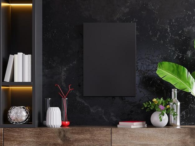 Frame op kast in woonkamer interieur op lege donkere muur, 3d-rendering