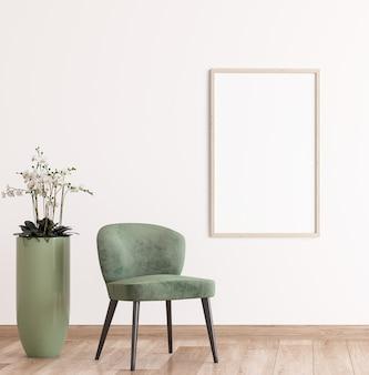 Frame op witte muur, greens stoel in modern kamerontwerp