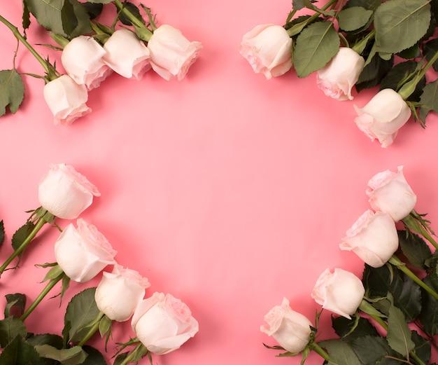 Frame rand van rozen op een roze achtergrond