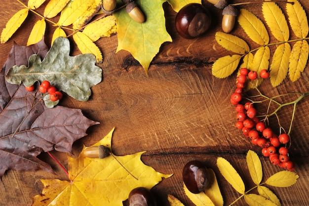 Frame van de esdoornbladeren van de herfst op oud hout.